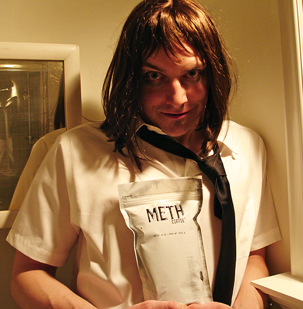 Scotch Wichmann as The Drinker, the drugged-out spokesman for Meth Coffee in San Francisco